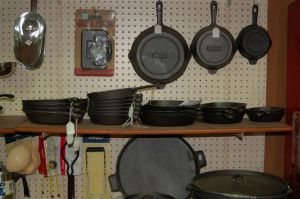We have a large selection of housewares, such as cast-iron cookware, canning supplies, stoneware crocks, and White Mountain ice-cream freezers.